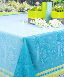 Rectangulaire Jacquard Lin 150 cm x 250 cm Cheyenne Turquoise