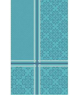 Nappe 150 cm Jacquard Polyester Enduite Bilbao Turquoise