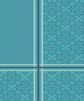 Nappe 200 cm Jacquard Polyester Enduite Bilbao Turquoise
